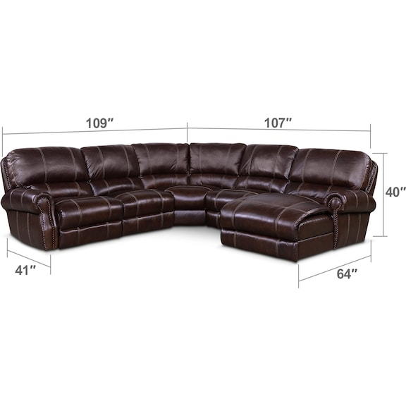 Living Room Furniture - Dartmouth 5-Piece Power Reclining Sectional w/ Right-Facing Chaise and 2 Reclining Seats - Chocolate