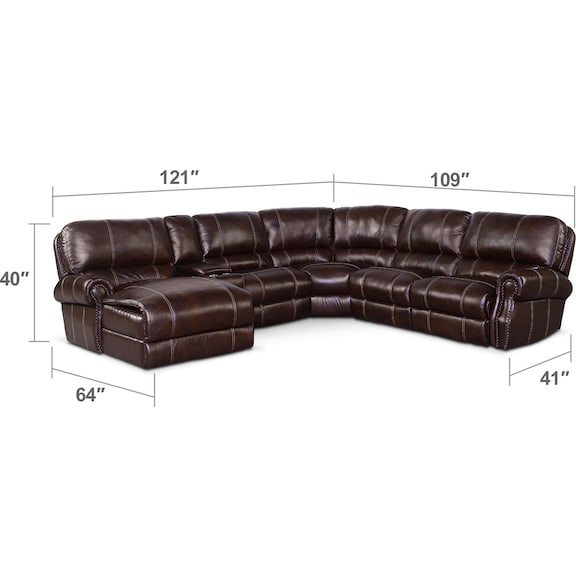 Living Room Furniture - Dartmouth 6-Piece Power Reclining Sectional w/ Left-Facing Chaise and 1 Reclining Seat - Chocolate