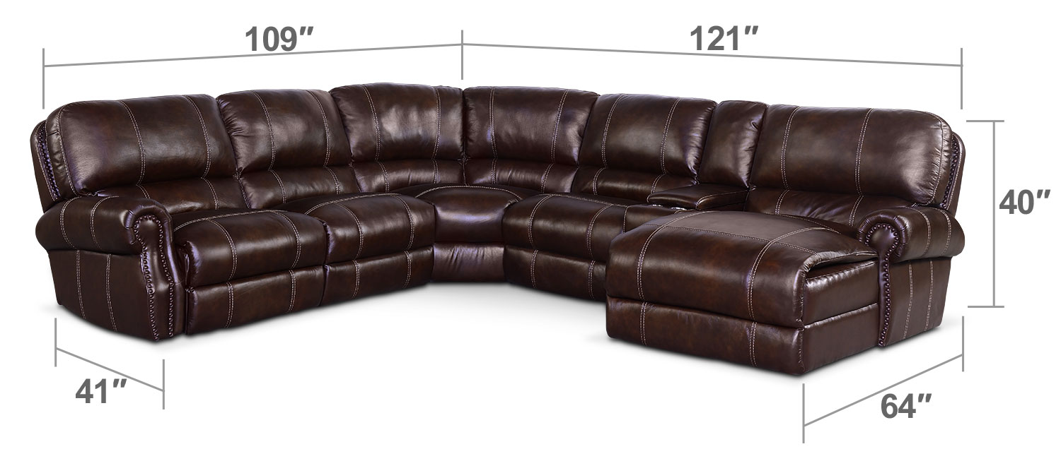 Living Room Furniture - Dartmouth 6-Piece Power Reclining Sectional with Right-Facing Chaise and 1 Recliner - Chocolate