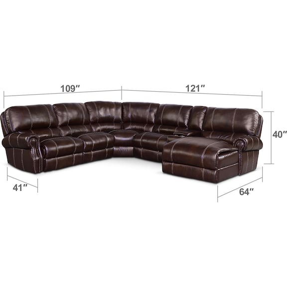 Living Room Furniture - Dartmouth 6-Piece Power Reclining Sectional w/ Right-Facing Chaise and 1 Reclining Seat - Chocolate
