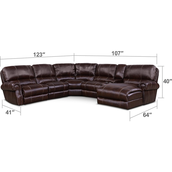 Living Room Furniture - Dartmouth 6-Piece Power Reclining Sectional w/ Right-Facing Chaise and 2 Reclining Seats - Chocolate