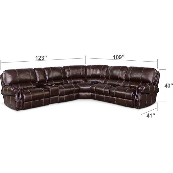 Living Room Furniture - Dartmouth 6-Piece Power Reclining Sectional with 3 Reclining Seats - Chocolate