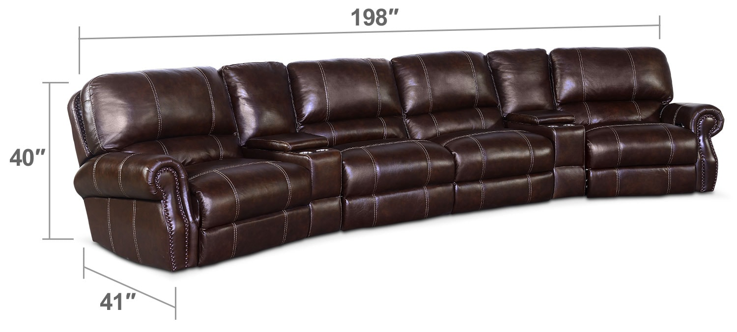 Living Room Furniture - Dartmouth 6-Piece Power Sectional with Wedge Console  - Chocolate
