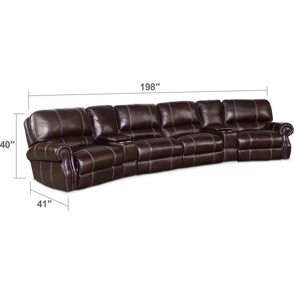 Living Room Furniture - Dartmouth 6-Piece Power Reclining Sectional with 2 Wedge Consoles  - Chocolate