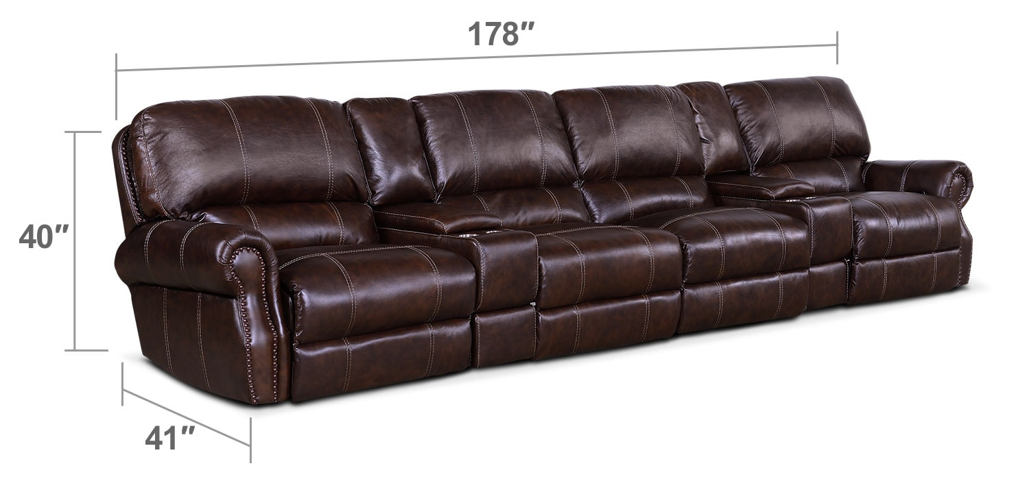 Living Room Furniture - Dartmouth 6-Piece Power Sectional with 4 Reclining Seats - Chocolate
