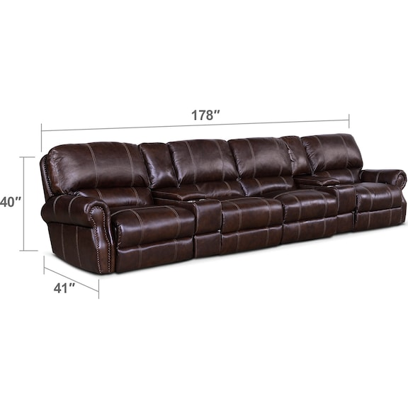 Living Room Furniture - Dartmouth 6-Piece Power Reclining Sectional with 4 Reclining Seats - Chocolate