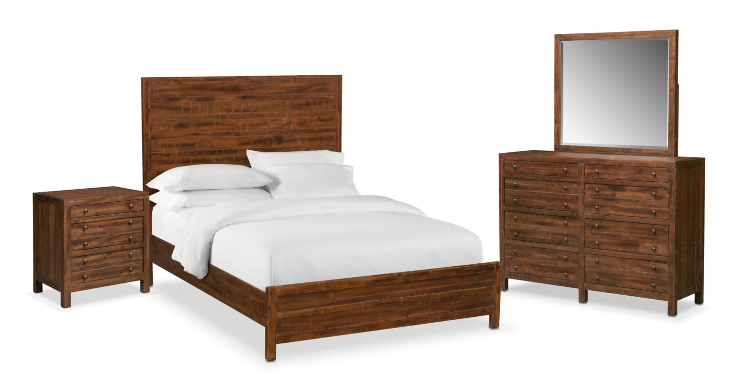 Bedroom Furniture - Ryder 6-Piece Queen Bedroom Set - Mahogany