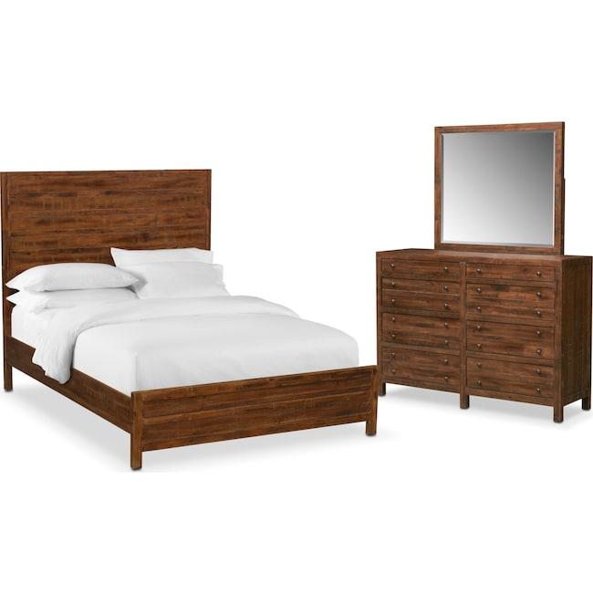 Bedroom Furniture - Ryder 5-Piece Queen Bedroom Set - Mahogany