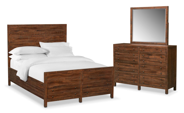Ryder 5-Piece Queen Storage Bedroom Set - Mahogany