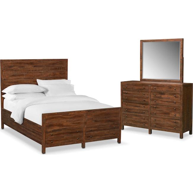 Bedroom Furniture - Ryder 5-Piece Queen Storage Bedroom Set - Mahogany