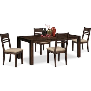 Tribeca Table and 4 Side Chairs - Tobacco