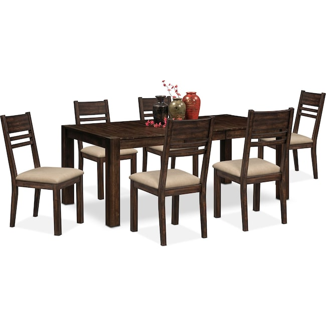 Dining Room Furniture - Tribeca Table and 6 Side Chairs - Tobacco