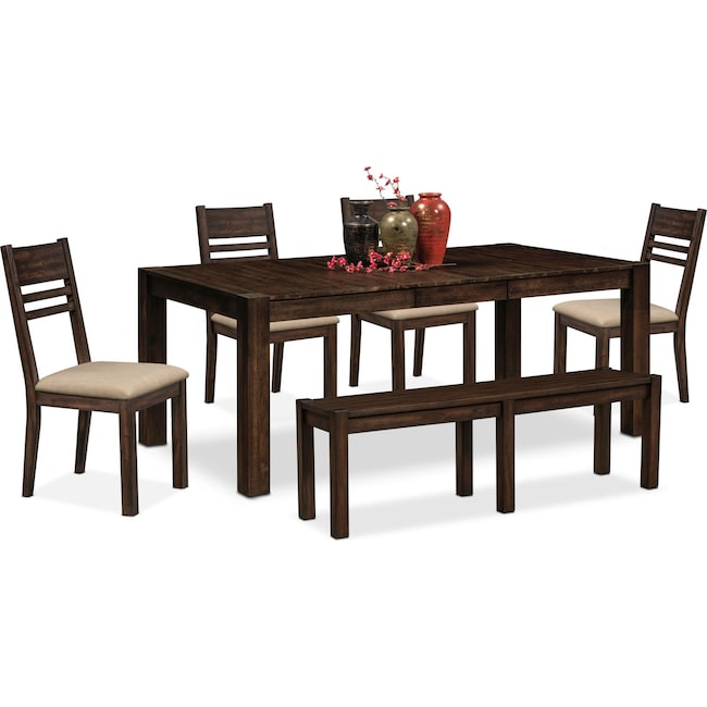 Dining Room Furniture - Tribeca Table, 4 Side Chairs and Bench - Tobacco