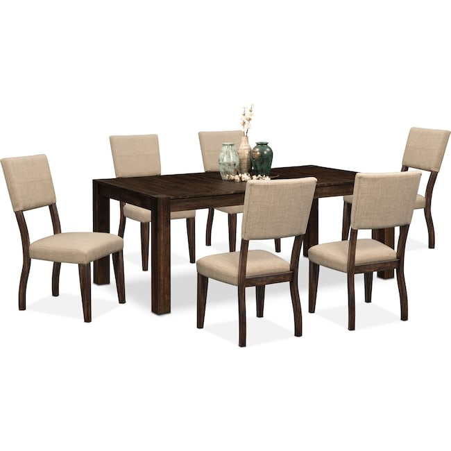 Dining Room Furniture - Tribeca Table and 6 Upholstered Side Chairs - Tobacco