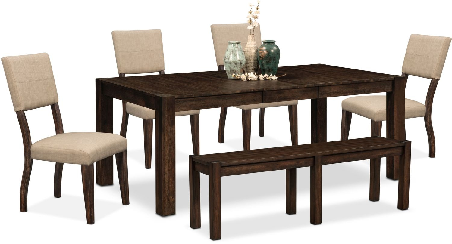 Tribeca table 4 upholstered side chairs and bench for Side chairs for dining table