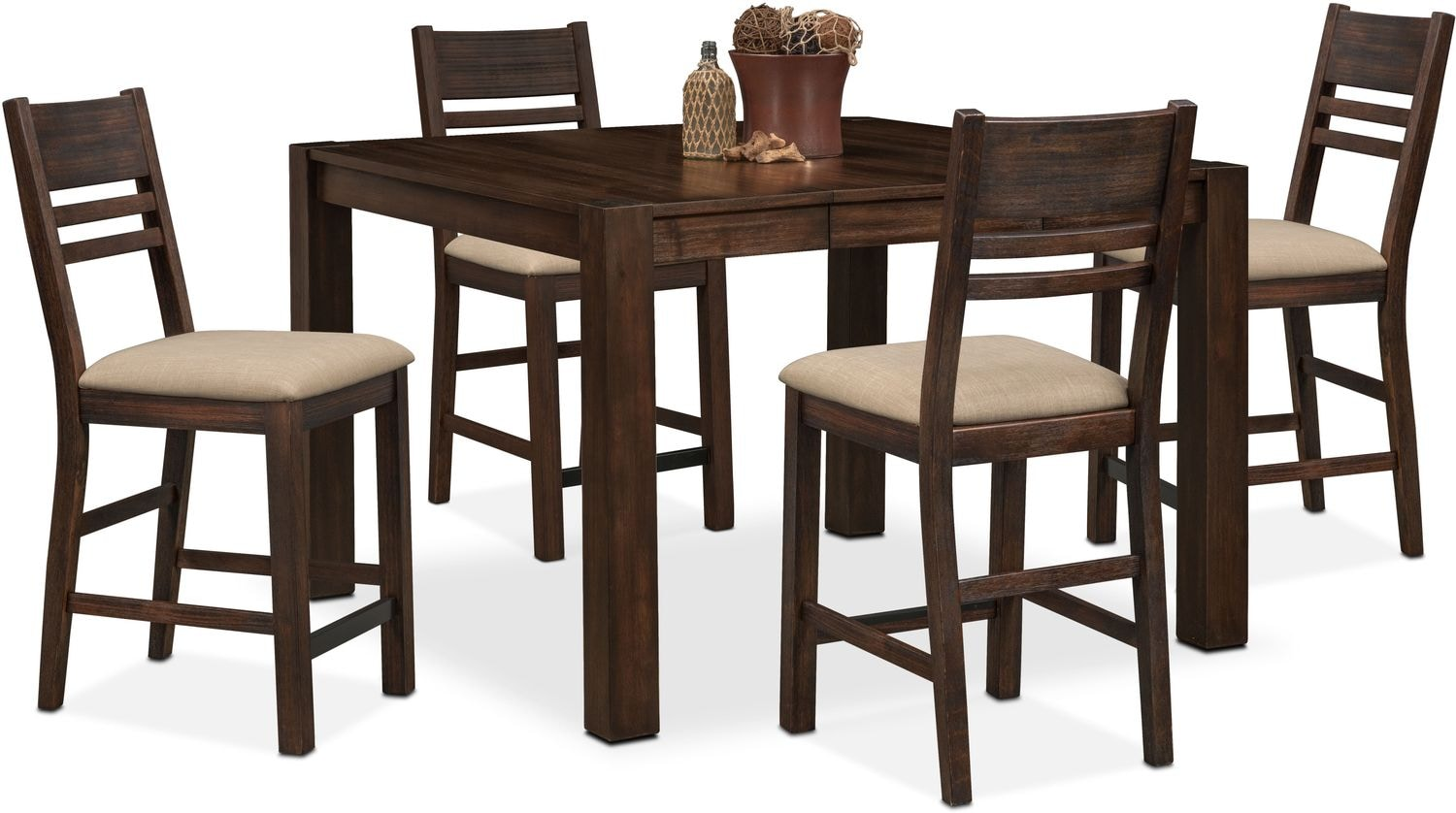 tribeca counter height table and 4 side chairs tobacco value city furniture and mattresses. Black Bedroom Furniture Sets. Home Design Ideas