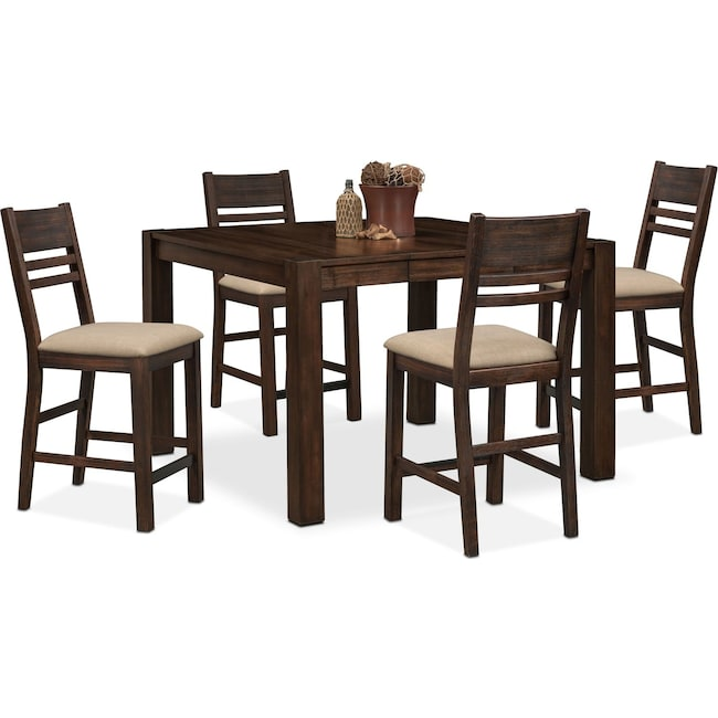 Dining Room Furniture - Tribeca Counter-Height Table and 4 Side Chairs - Tobacco