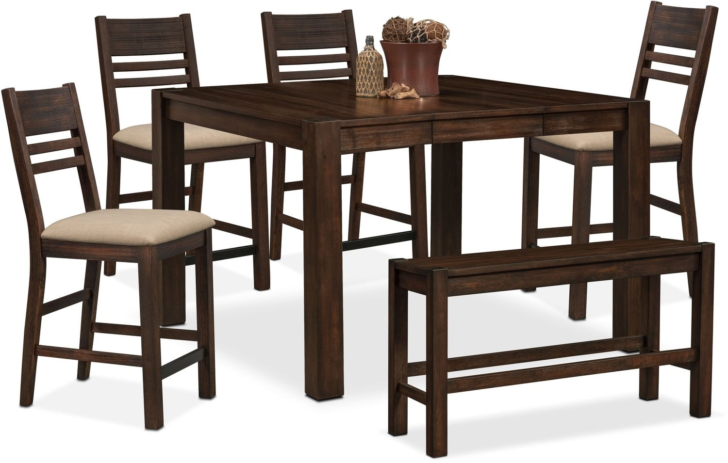 tribeca counter height table 4 side chairs and bench tobacco hover to zoom