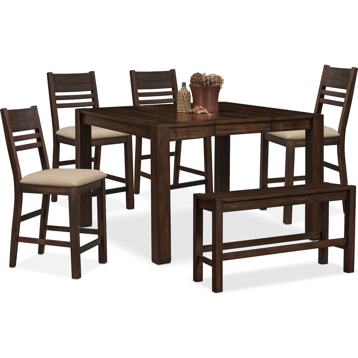 Tribeca Counter Height Table 4 Side Chairs And Bench