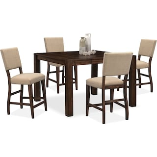 Tribeca Counter-Height Table and 4 Upholstered Side Chairs - Tobacco
