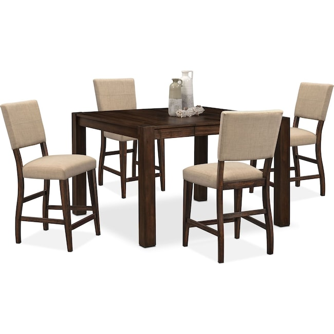 Dining Room Furniture - Tribeca Counter-Height Table and 4 Upholstered Side Chairs - Tobacco