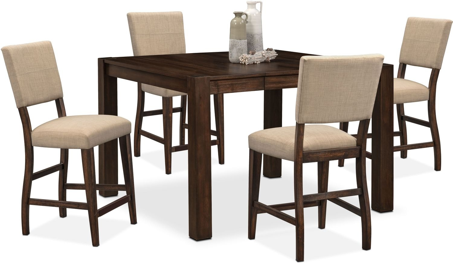 tribeca table and 4 upholstered side chairs tobacco