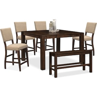 Tribeca Counter-Height Table, 4 Upholstered Side Chairs and Bench - Tobacco