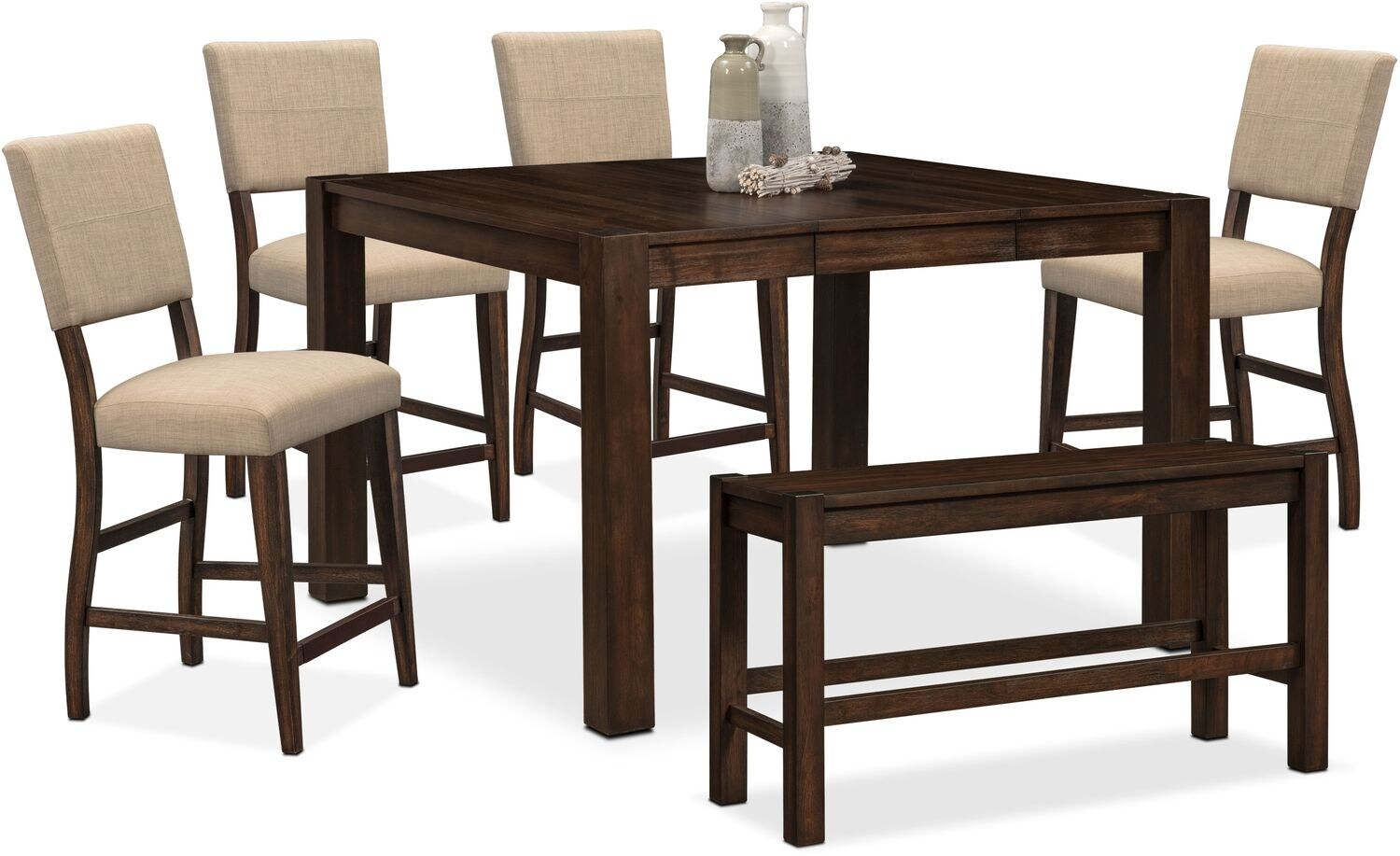 Tribeca Counter Height Table, 4 Upholstered Side Chairs And Bench   Tobacco