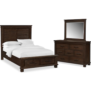 Tribeca 5-Piece King Bedroom Set w/ 2 Underbed Drawers - Tobacco