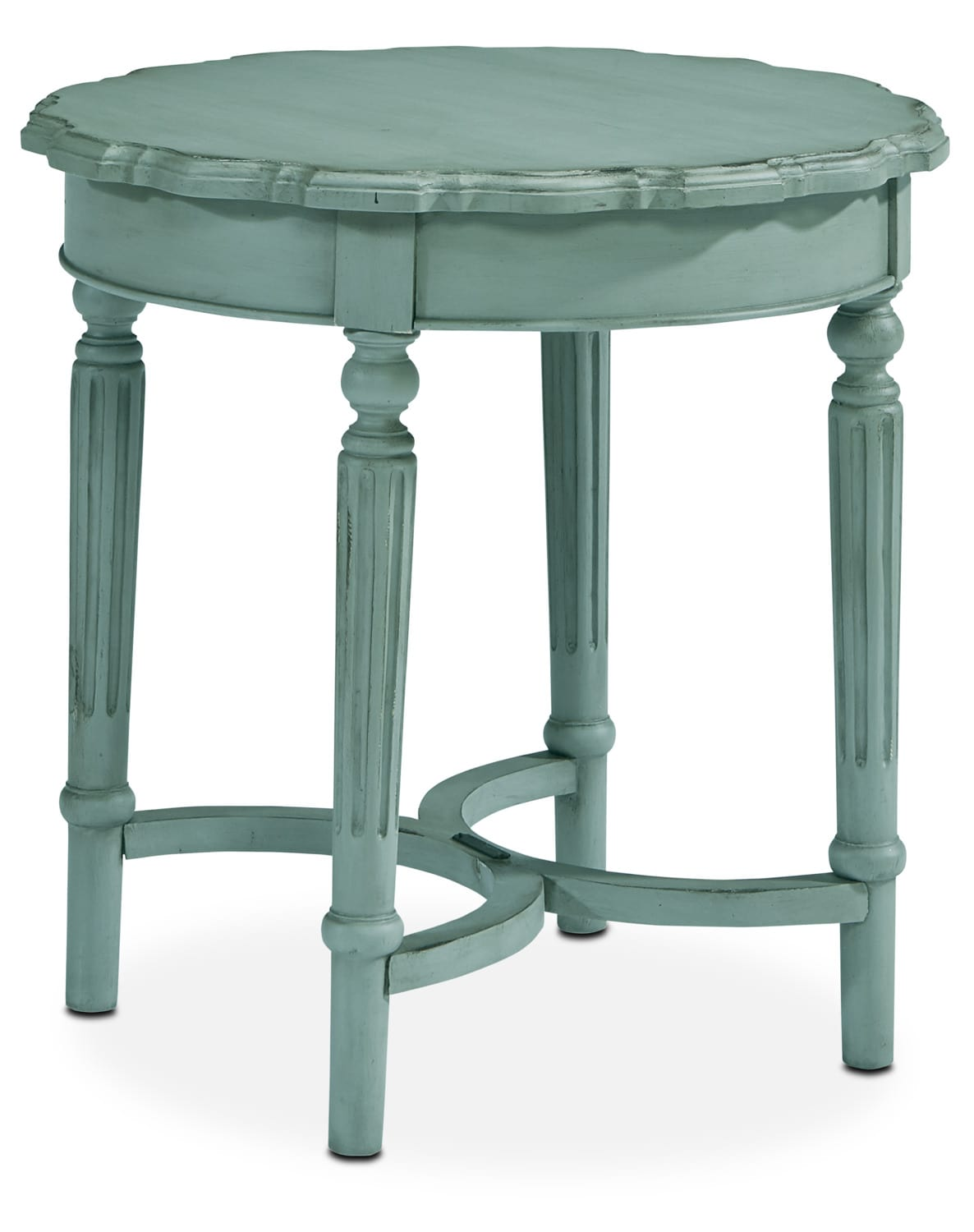 French Pie Crust Short Table - French Blue