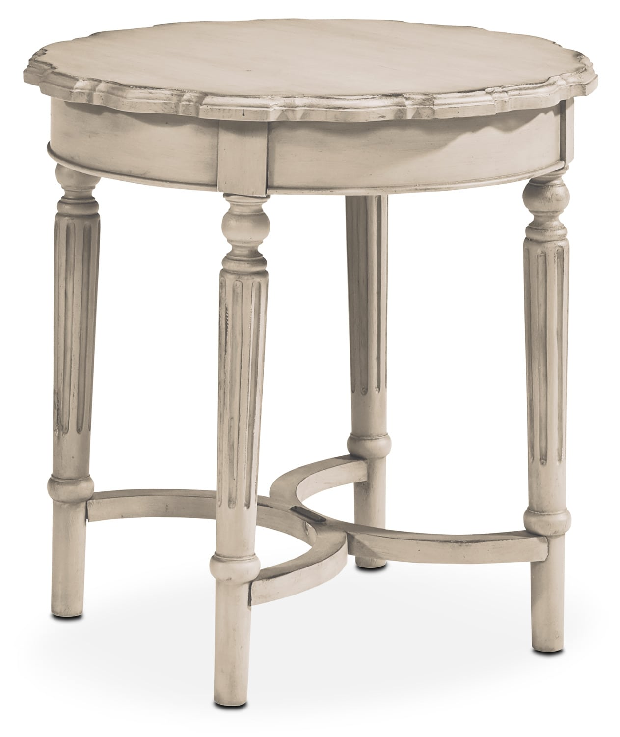 Accent and Occasional Furniture - French Pie Crust Short Table - Antique White