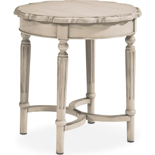 French Pie Crust Short Table - Antique White