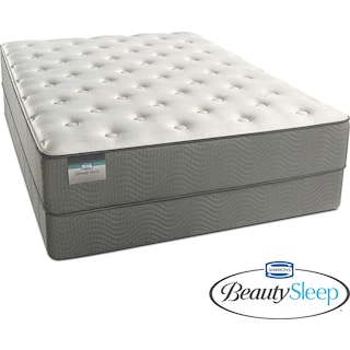 French Grey Plush King Mattress and Split Low-Profile Foundation Set