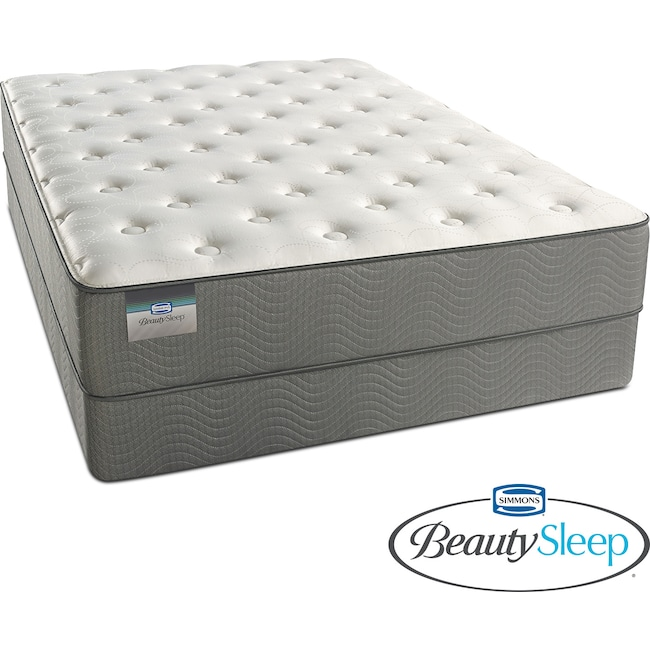 Mattresses and Bedding - French Grey Plush King Mattress and Split Low-Profile Foundation Set
