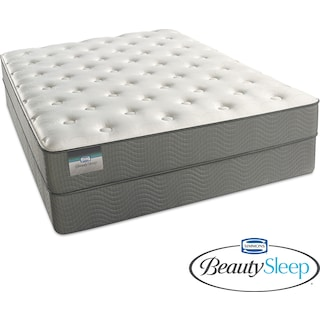 Sapphire Blue Luxury Firm Queen Mattress and Low-Profile Foundation Set