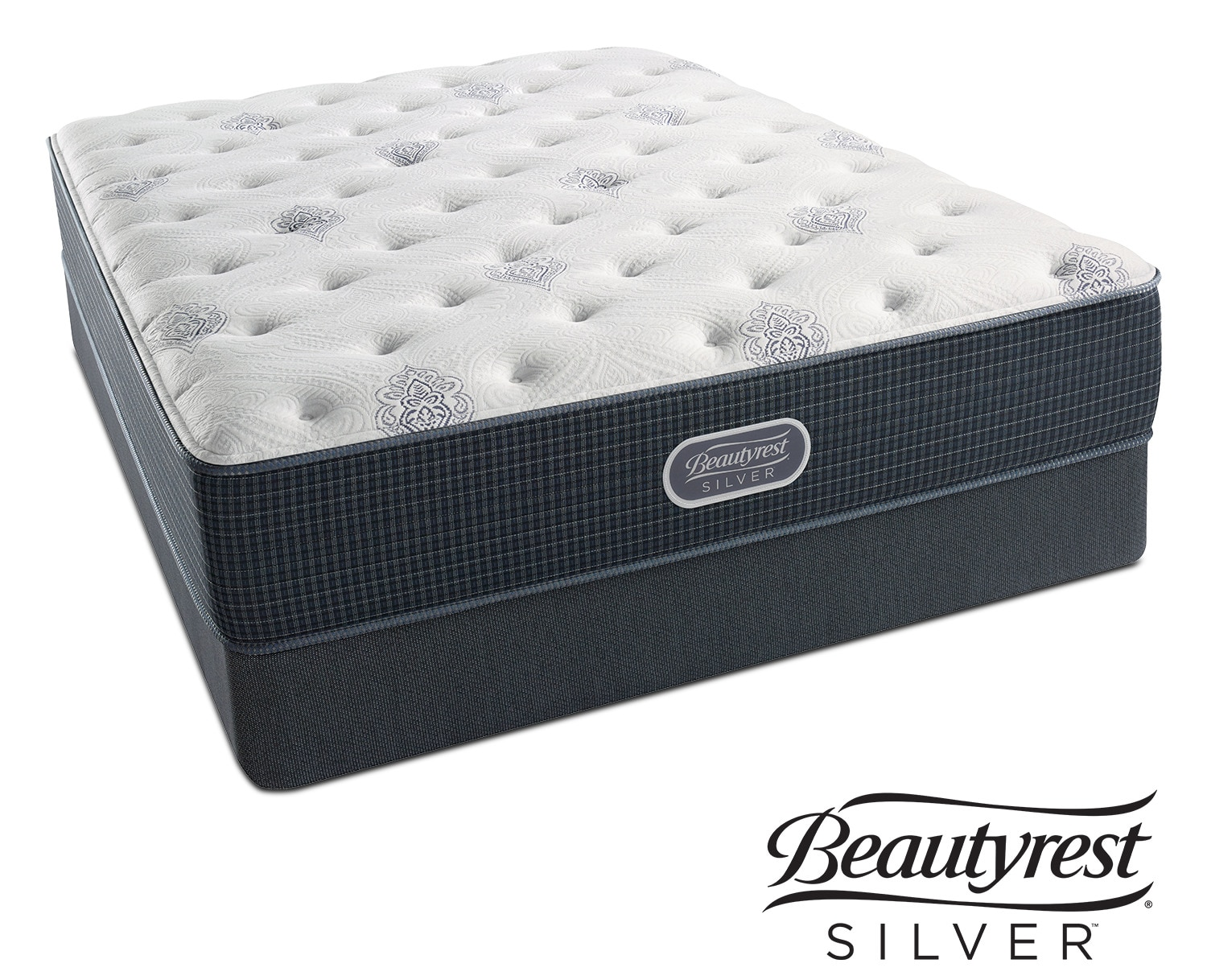 White river luxury firm queen mattress and foundation set value city furniture and mattresses - Matelas simmons back touch ...