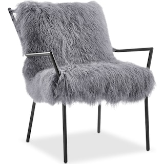 Lara Sheepskin Accent Chair - Black and Gray