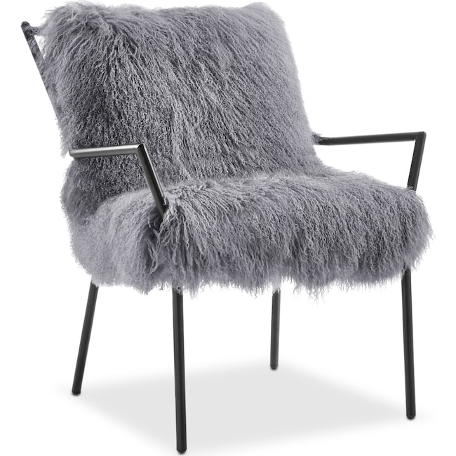 Living Room Furniture - Lara Sheepskin Accent Chair - Black and Gray