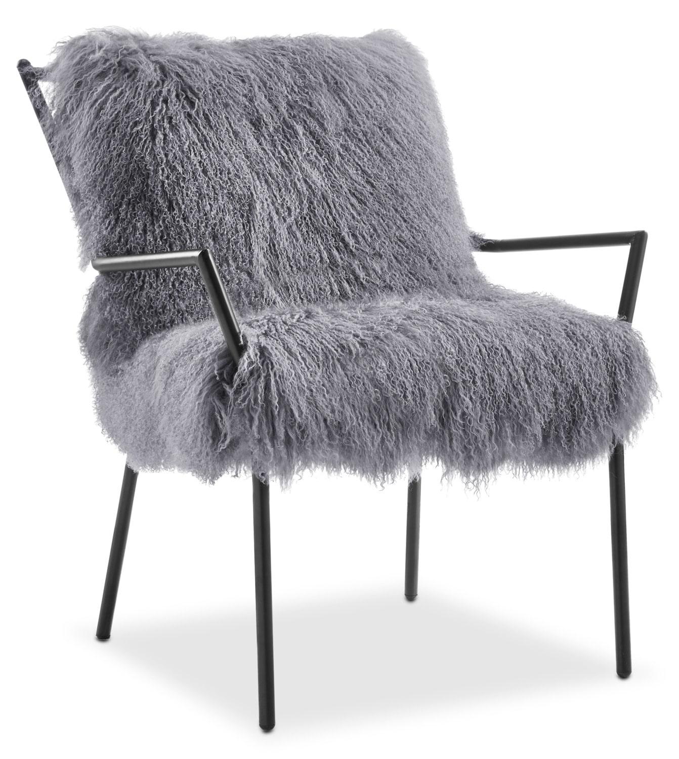 Lara Sheepskin Accent Chair   Black And Gray
