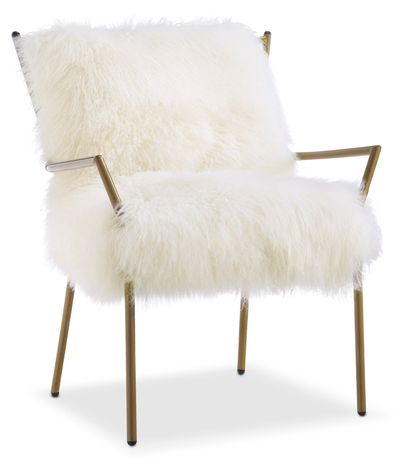 lara sheepskin accent chair - gold and white | value city furniture