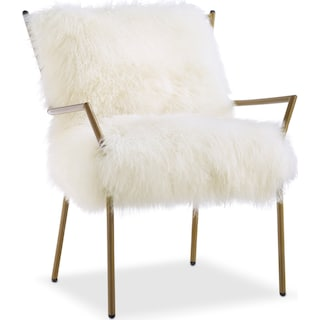 Lara Sheepskin Accent Chair - Gold and White