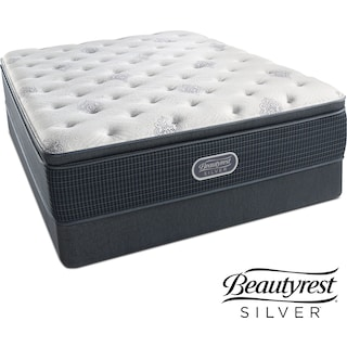 White River Plush Pillowtop Queen Mattress and Low-Profile Foundation Set