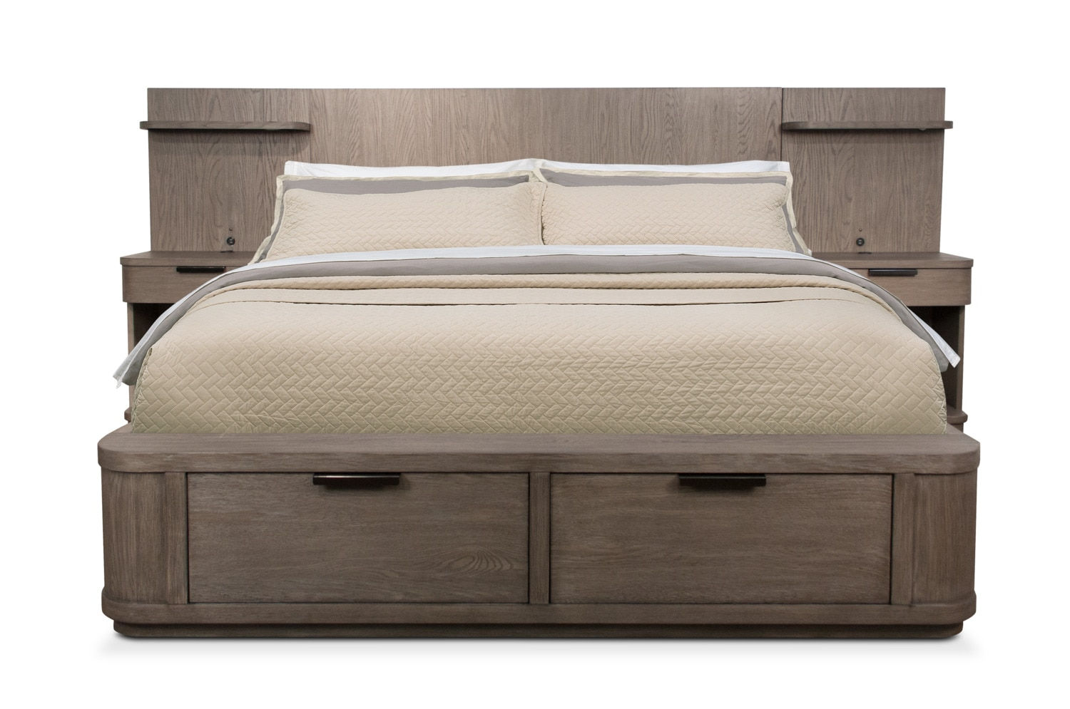 Bedroom Furniture - Malibu King Low Storage Wall Bed - Gray