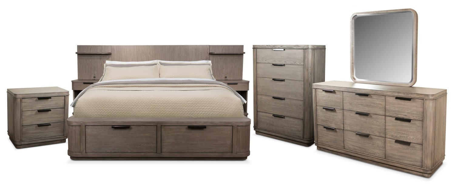The Malibu Low Storage Bedroom Collection - Gray
