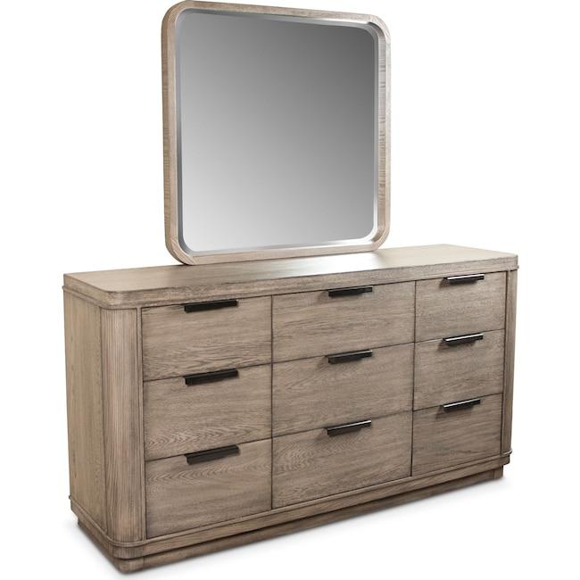 Bedroom Furniture - Malibu Dresser and Mirror - Gray