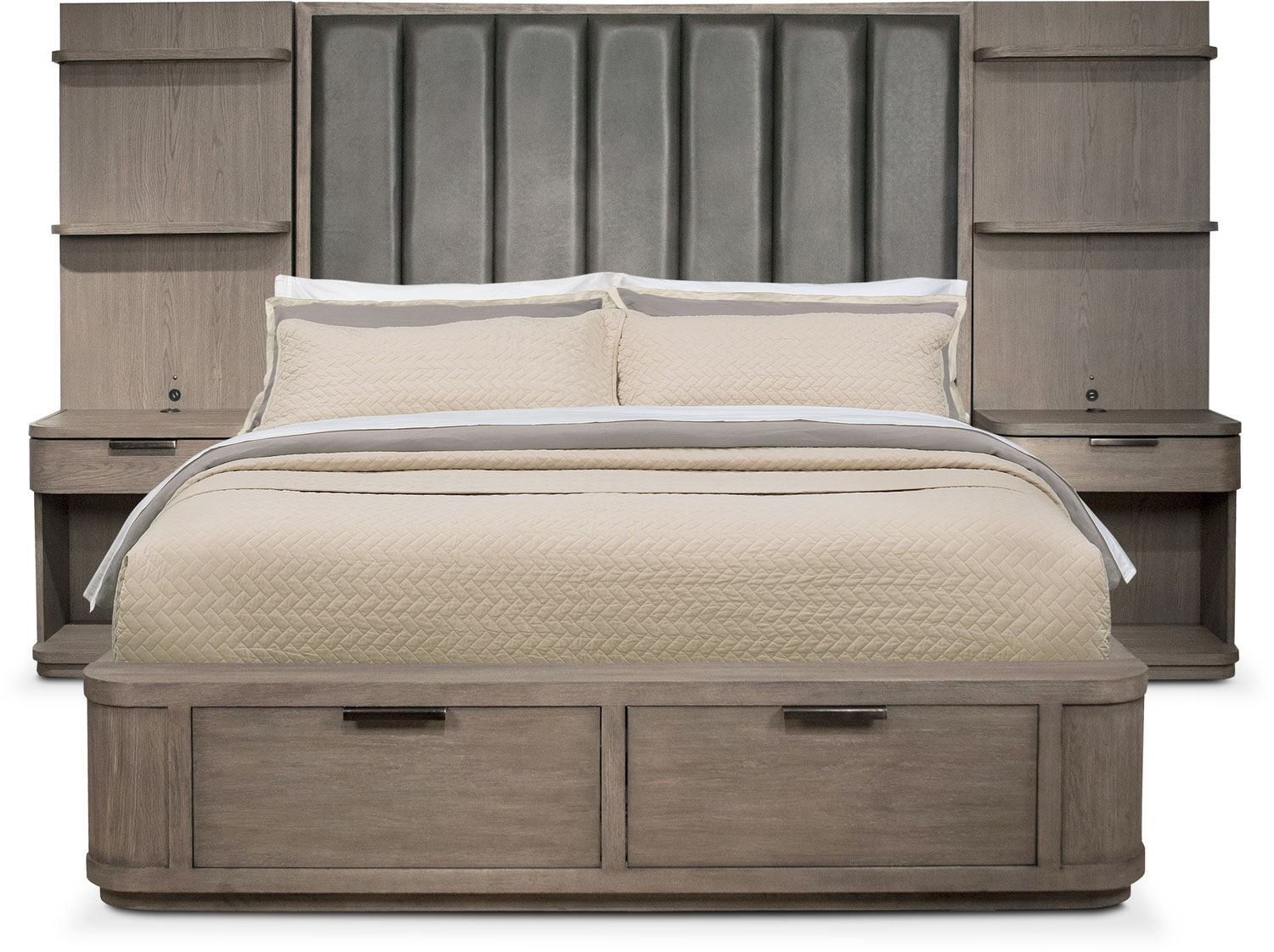 Bedroom Furniture - Malibu King Tall Upholstered Storage Wall Bed - Gray