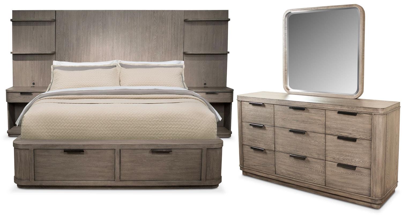 Malibu 5-Piece Queen Tall Wall Storage Bedroom Set - Gray