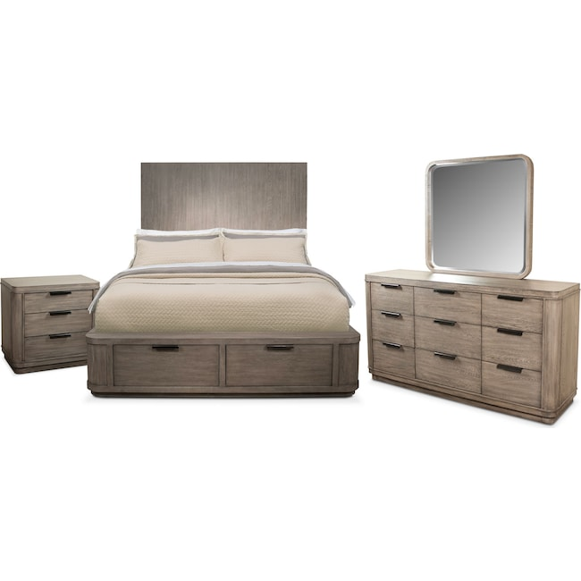 Bedroom Furniture - Malibu 6-Piece King Tall Storage Bedroom Set - Gray