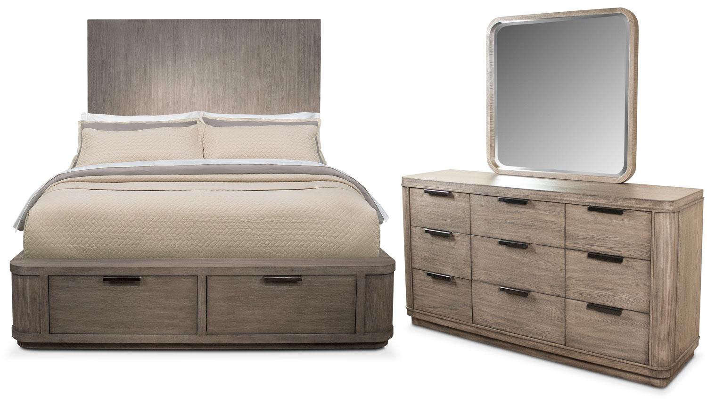 Bedroom Furniture - Malibu 5-Piece King Tall Storage Bedroom Set - Gray