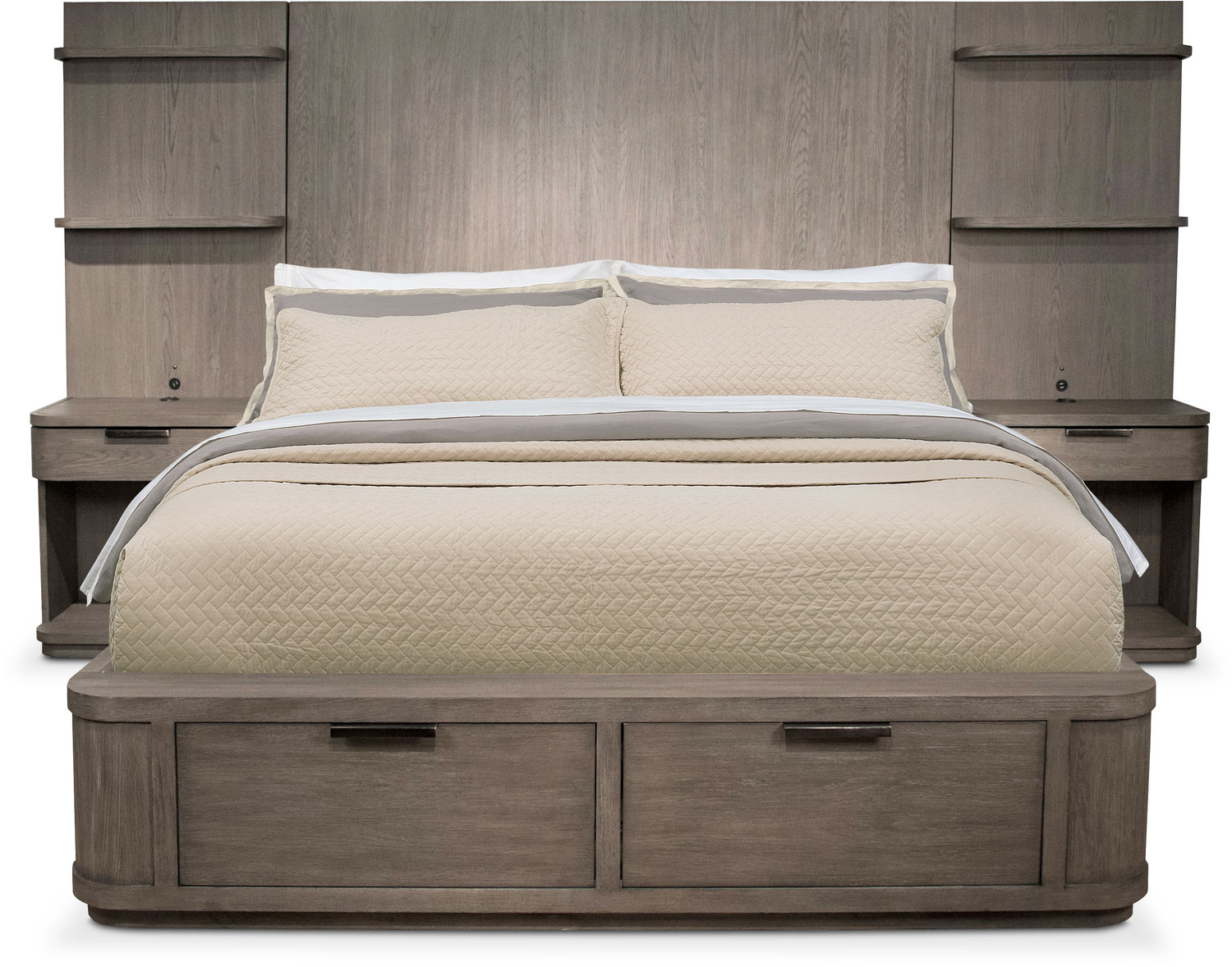 Malibu Queen Tall Storage Wall Bed - Gray